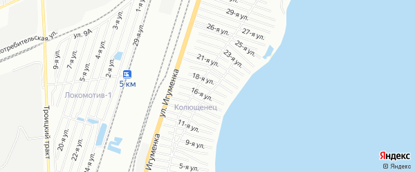 СТ Колющенец на карте Челябинска с номерами домов