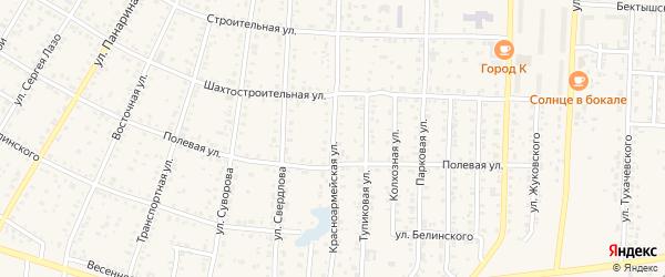 Красноармейская улица на карте Коркино с номерами домов
