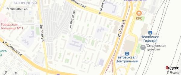Улица Ширшова на карте Челябинска с номерами домов