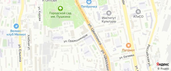 Переулок Орджоникидзе на карте Карабаша с номерами домов