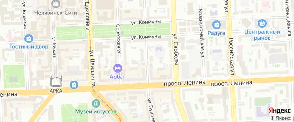 Улица Пушкина на карте Челябинска с номерами домов