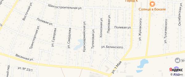 Тупиковая улица на карте Коркино с номерами домов