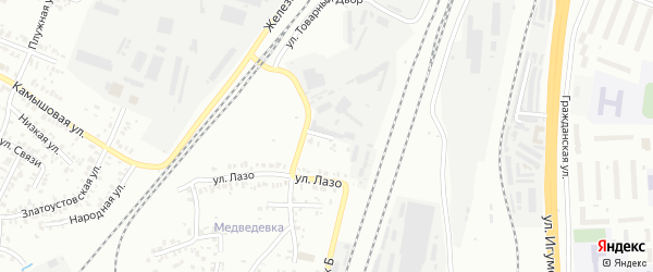 Товарная улица на карте Челябинска с номерами домов