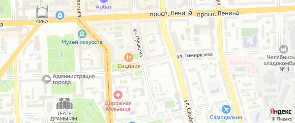 Территория ГСК 201 филиал по ул Тимирязева на карте Челябинска с номерами домов