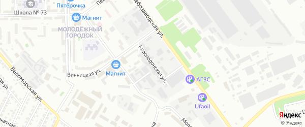 Краснодонская улица на карте Челябинска с номерами домов