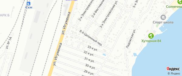 Целинный 8-й переулок на карте Челябинска с номерами домов