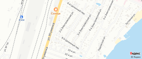 Целинный 7-й переулок на карте Челябинска с номерами домов