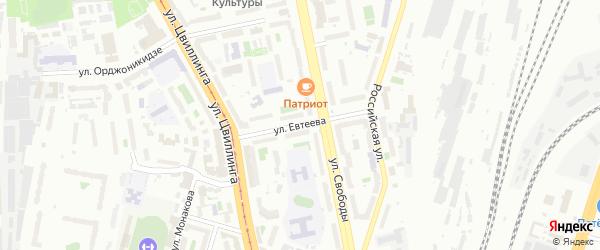 Улица Евтеева на карте Челябинска с номерами домов