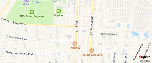1-я улица на карте садового товарищества Шахтера ЭВРЗА с номерами домов