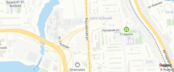 Российская улица на карте Челябинска с номерами домов