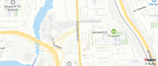 Нагорная улица на карте Челябинска с номерами домов