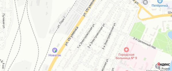 Электровозная 1-я улица на карте Челябинска с номерами домов