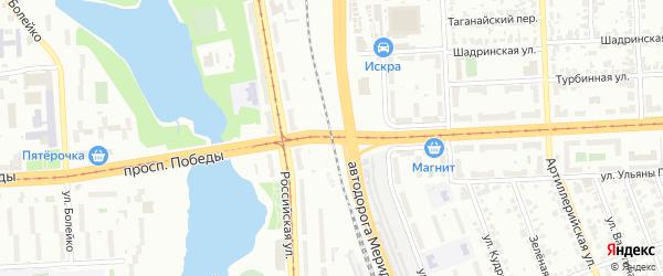 Территория ГСК Железнодорожный на карте Челябинска с номерами домов