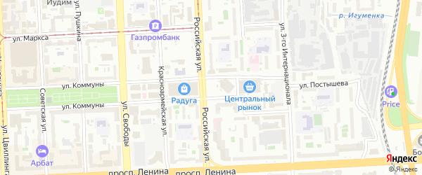 Площадь МОПРа на карте Челябинска с номерами домов