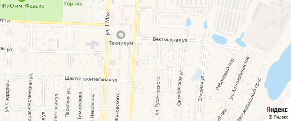 Бектышский переулок на карте Коркино с номерами домов