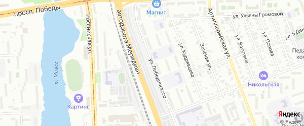 Улица Либединского на карте Челябинска с номерами домов