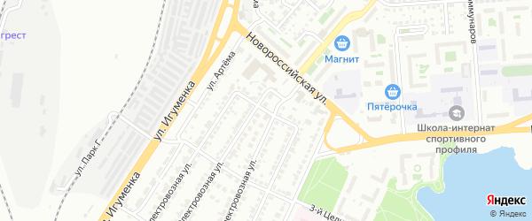 Целинный 2-й переулок на карте Челябинска с номерами домов