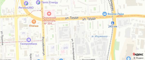 Улица 3 Интернационала на карте Челябинска с номерами домов
