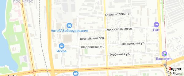 Таганайский переулок на карте Челябинска с номерами домов