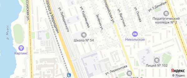 Улица Кудрявцева на карте Челябинска с номерами домов