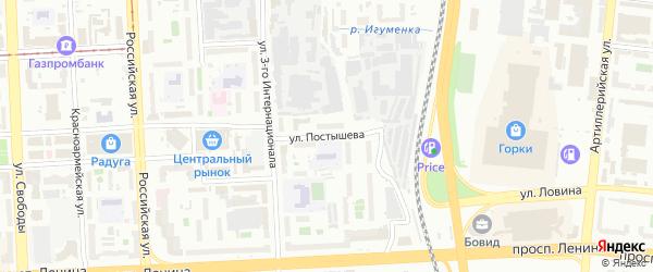 Улица Постышева на карте Челябинска с номерами домов