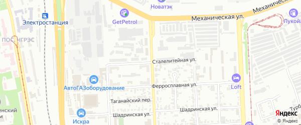 Сталелитейная улица на карте Челябинска с номерами домов