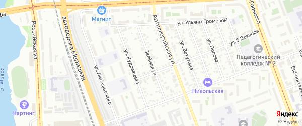 Зеленая улица на карте Челябинска с номерами домов