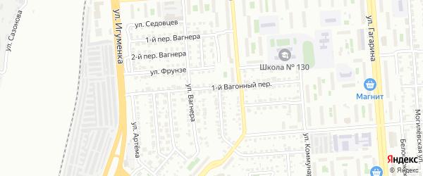 Вагонный 1-й переулок на карте Челябинска с номерами домов