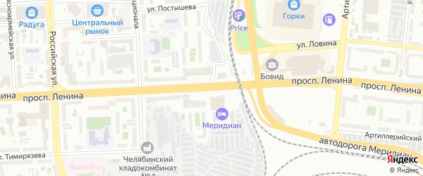 Проспект Ленина на карте Челябинска с номерами домов