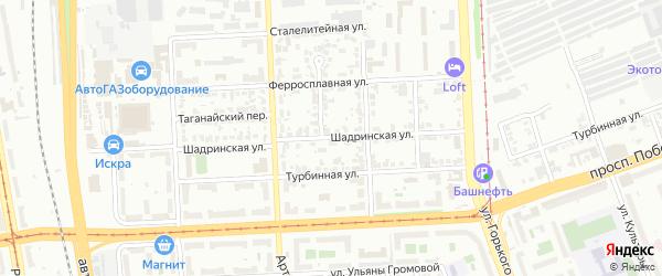 Шадринская улица на карте Челябинска с номерами домов