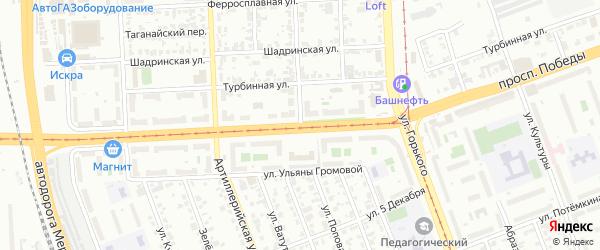 Улица Попова на карте Челябинска с номерами домов