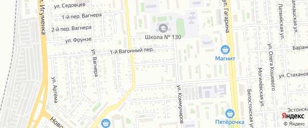 Вагонный 2-й переулок на карте Челябинска с номерами домов
