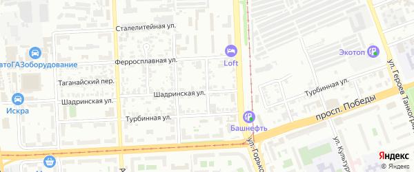 Корундовая улица на карте Челябинска с номерами домов