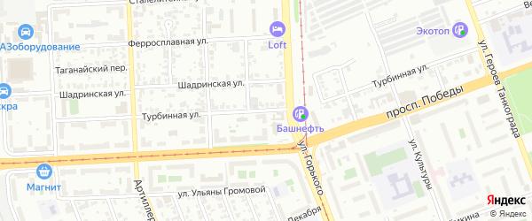 Турбинная улица на карте Челябинска с номерами домов