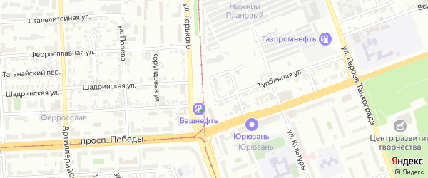 Лучевой переулок на карте Челябинска с номерами домов