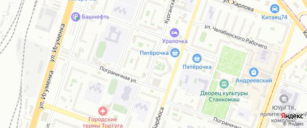 Курганская улица на карте Челябинска с номерами домов