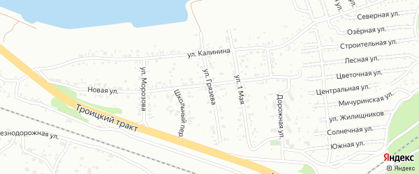 Улица Грязева на карте Челябинска с номерами домов