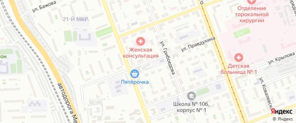 Улица Правдухина на карте Челябинска с номерами домов