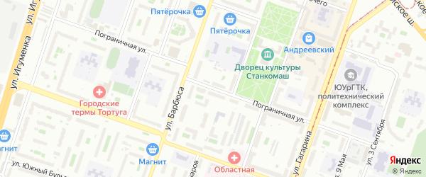 Пограничная улица на карте Челябинска с номерами домов