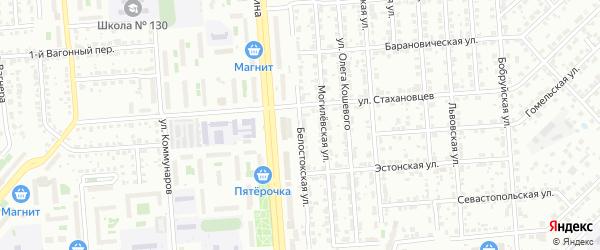 Белостокская улица на карте Челябинска с номерами домов