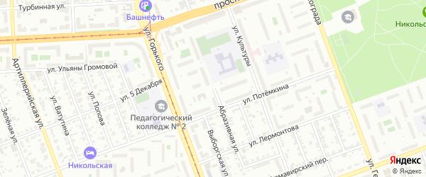 Абразивная улица на карте Челябинска с номерами домов