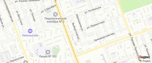 Выборгская улица на карте Челябинска с номерами домов