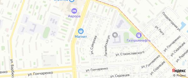 Улица Суворова на карте Челябинска с номерами домов