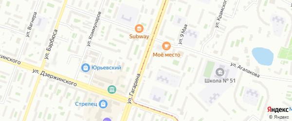 Улица Гагарина (Смолино) на карте Челябинска с номерами домов