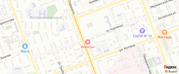 Улица Карпенко на карте Челябинска с номерами домов