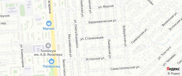 Улица Стахановцев на карте Челябинска с номерами домов