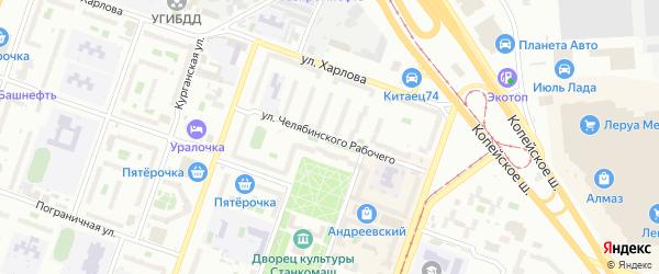 Улица Челябинского Рабочего на карте Челябинска с номерами домов
