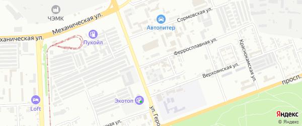 Ферросплавная улица на карте Челябинска с номерами домов