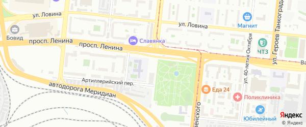 Комсомольская площадь на карте Челябинска с номерами домов