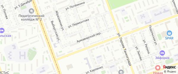 Армавирский переулок на карте Челябинска с номерами домов